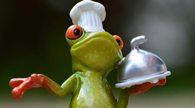 żaba w czapce kucharskiej