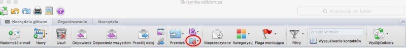 Menu Outlook dot. wiadomości śmieci