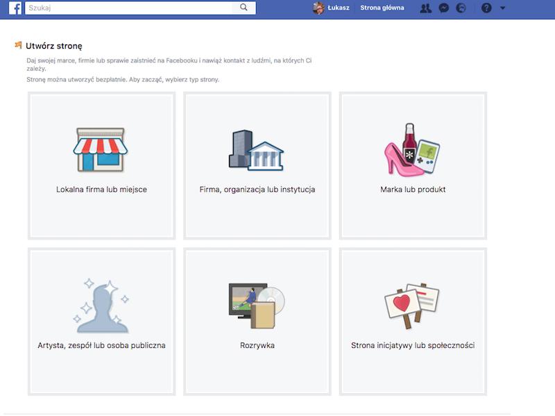 Screen z portalu Facebook – Ekran wyboru strony