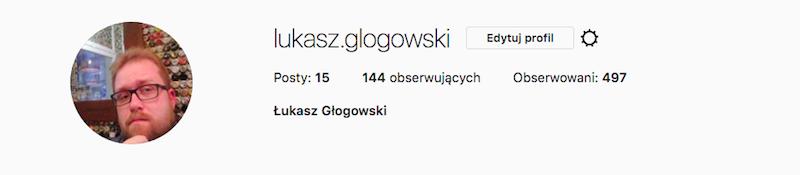 Screenshot informacji profilowych na Instagram