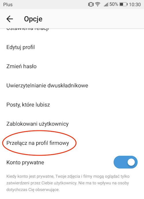 screenshot ekranu opcji na intagramie