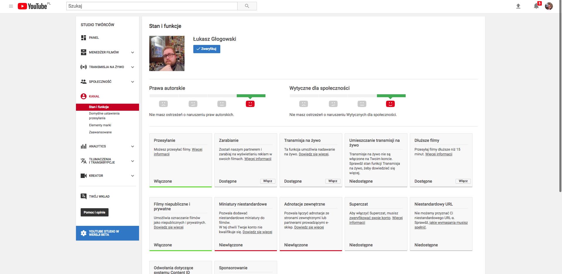 ekran zarządzania kanałem