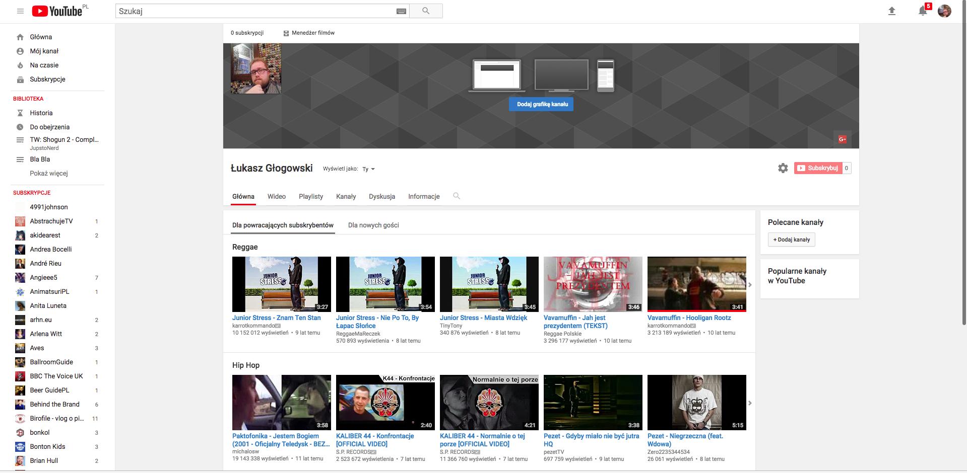 okno edycji kanału na Youtube.