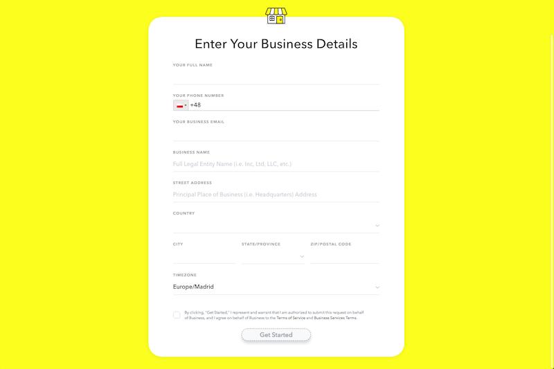 formularz uzupełnienia danych firmy