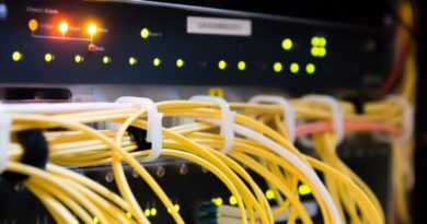 router z kablami sieciowymi.