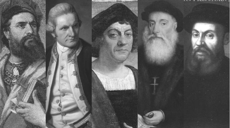 kolarz ze zdjęć Marco polo, Jamesa Cooka, Krzysztofa Kolumba, Vasco da Gamy, Ferdynanda Magellana